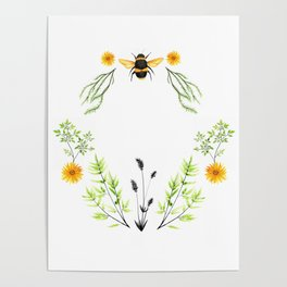 Bees in the Garden - Watercolor Graphic Poster