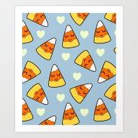 Candy Corn and Heart Pattern Art Print