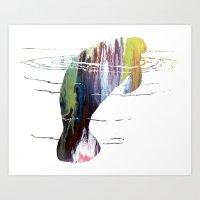 manatee Art Prints featuring manatee  by Mordax Furittus