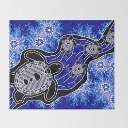 Baby Sea Turtles - Aboriginal Art Throw Blanket