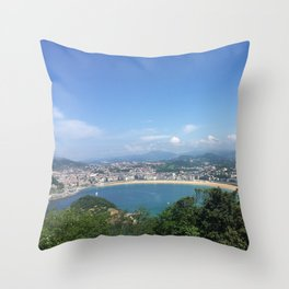 San sebastian from Monte Urgull Throw Pillow