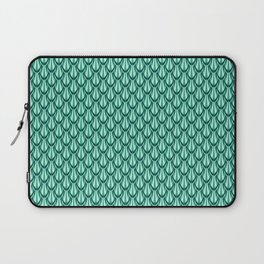 Gleaming Green Metal Scalloped Scale Pattern Laptop Sleeve