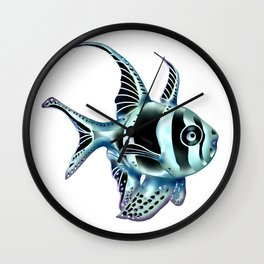Severe, but pretty, metallic Banggai cardinalfish Wall Clock
