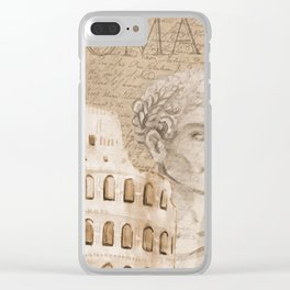 colosseum rome caesar background Clear iPhone Case