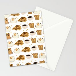 Breakfast Time Pattern on (Egg) White Stationery Cards