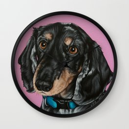 Sweet Double Dapple Dachshund Portrait, Weiner Dog Painting, Dachshund Painting Wall Clock
