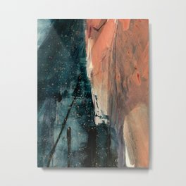 Same Stars [2] - an abstract mixed media piece in blues, pinks, and black Metal Print
