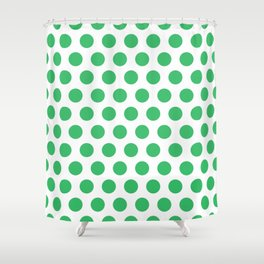 Green and White Polka Dots 771 Shower Curtain