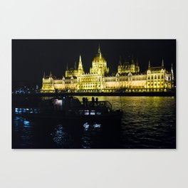 Hugarian Parliament in Budapest from the Danube Canvas Print