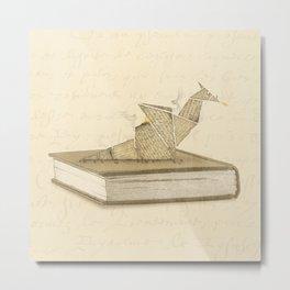 Origami Dragon Metal Print