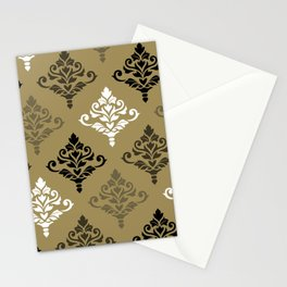 Cresta Damask Art I Black White Bronzes Gold Stationery Cards