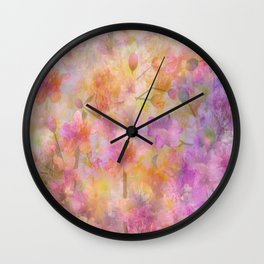 Sophisticated Painterly Floral Abstract Wall Clock