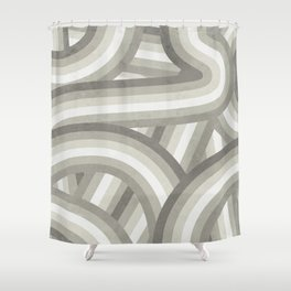 Retro Beige/Greige Stripe Pattern Shower Curtain