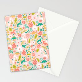 Dinosaurs + Unicorns in Pink + Teal Stationery Cards
