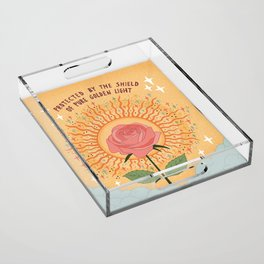 Protected by the golden light Acrylic Tray