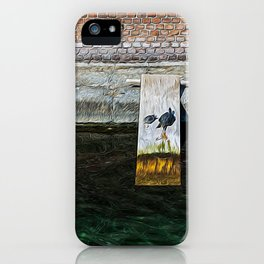 Funny turtles on a wooden plank on the Varenne canal in the center of Milan iPhone Case