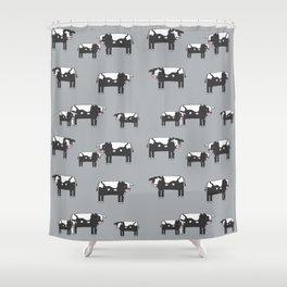 Cow farm minimal pattern animals nursery kids cattle design gifts grey Shower Curtain