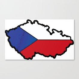 Czech Republic Map with Czech Flag Canvas Print