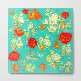 Vintage Inspired Floral with Red, White, and Orange on Turquoise Metal Print