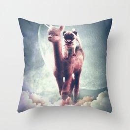Funny Space Pug Riding On Alpaca Unicorn Throw Pillow