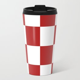 Large Checkered - White and Firebrick Red Travel Mug