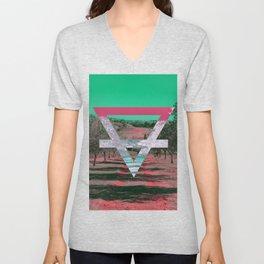 Earth Alchemy symbol - teal and orange Unisex V-Neck
