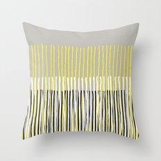 Yellow Rising - abstract stripes in yellow, grey, black & white Throw Pillow
