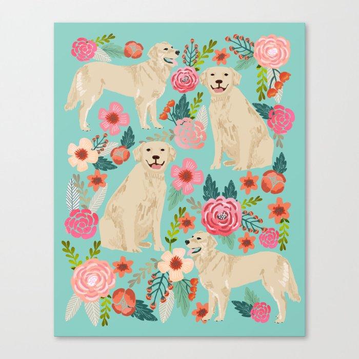 Golden retrievers must have florals mint pastel gender neutral dog art cute pet portraits labrador  Canvas Print