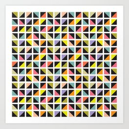 Geometric Pattern 241 (multicolored triangle boxes) Art Print