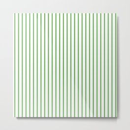 Spring Leaf Green Pinstripe on White Metal Print