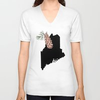 maine V-neck T-shirts featuring Maine Silhouette by Ursula Rodgers