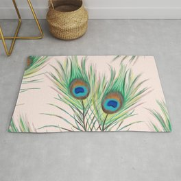 Unique Peacock Feathers Pattern Rug