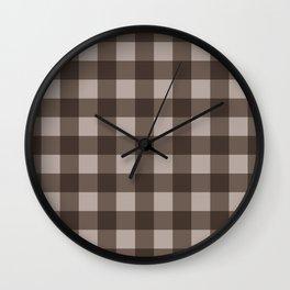 Brown Checkered Plaid Squares Wall Clock