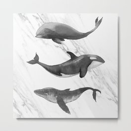 Ocean Whales Marble Black and White Metal Print
