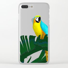 Parrot Tropical Banana Leaves Design Clear iPhone Case