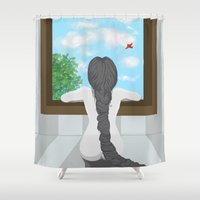 rapunzel Shower Curtains featuring Rapunzel by Laura Lovegrove