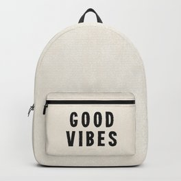 Distressed Ink Effect Good Vibes | Black on Off White Backpack