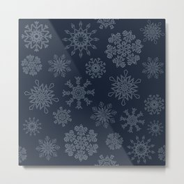 Snowflakes (hollow on navy blue) Metal Print