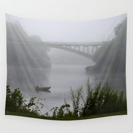 Foggy Fishing Day on the Delaware River Wall Tapestry
