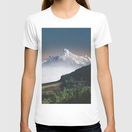 Fairytale Landscape Snow Capped Mountain Lush Green Forest T-shirt