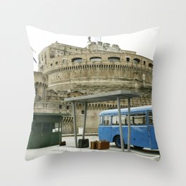 Castel Sant Angelo between past and present in color Throw Pillow