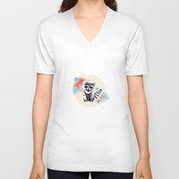 raccoon V-neck T-shirts featuring Raccoon by Wood + Ink