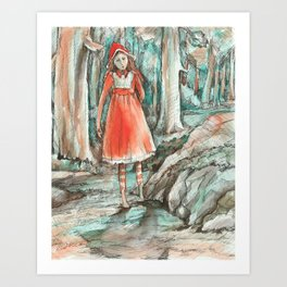 Walking out of the woods Art Print