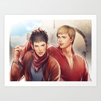 merlin Art Prints featuring Merlin by Drag Me To Work