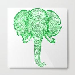 Green Elephant Illustration Metal Print
