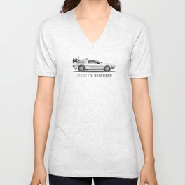 Marty's Delorean from Back to the Future Unisex V-Neck