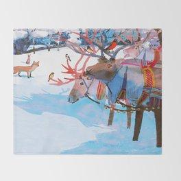 Reindeers and friends Throw Blanket