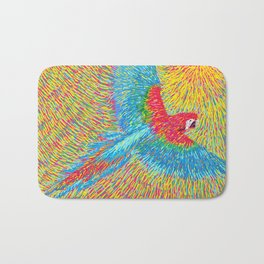 Post Impressionism style brazilian blue red macaw parrot vector painting Bath Mat