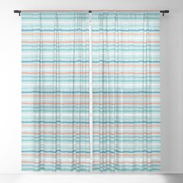 Hand drawn textured maritime stripes. Sheer Curtain