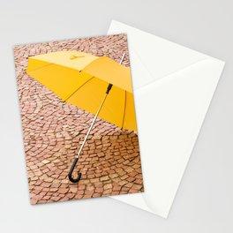 yellow umbrella Stationery Cards